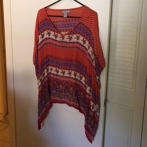Red and purple shift blouse
